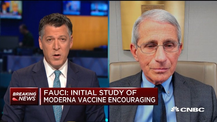 A screen shot of Dr. Fauci and the CNBC interviewer